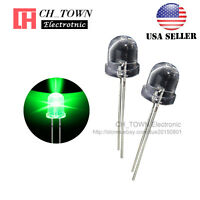 50pcs 10mm LED Water Clear Green Light Emitting Diodes Round Top USA