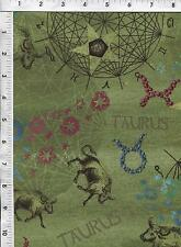 """Fabri Quilt Horoscope New Dawn Taurus sign 100% cotton 43"""" Fabric by the yard"""