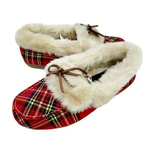 New Vionic Cozy Juniper  Red Plaid Moccasin Slippers Slip On Womens Size 10