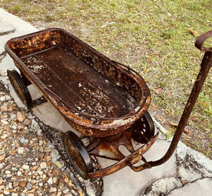 Fabulous Rare Early 1900'sOld Champ Vintage Childs All Metal American pull Wagon