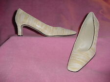 """Yellow/Cream Striped Sparkly Sueded Leather Pump """"Adrienne"""" by J Renee 12N"""