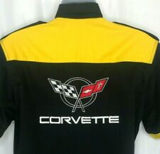 Chevrolet Corvette Mens XL Black Pit Crew Shirt Embroidered Short Sleeve Yellow