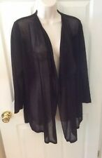 NEW August Silk Size L Black Cardigan Sweater Open Front Long Sleeves NWT