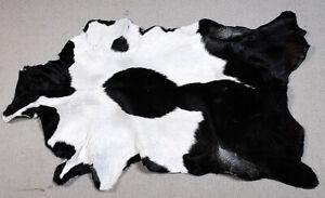 "New Goat hide Rug Hair on Area Rug Size 34""x24"" Animal Leather Goat Skin U-5641"