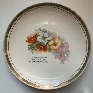 1900s 1910s STATE BANK ADVERTISING PLATE, ROSES, SILOAM SPRINGS, AR