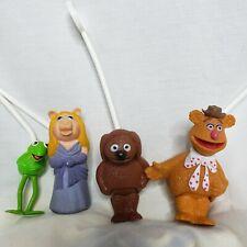 "Vintage Fisher Price Ha! 1978 Muppets KERMIT PIGGY FOZZY ROWLF 3"" Stick Puppet"