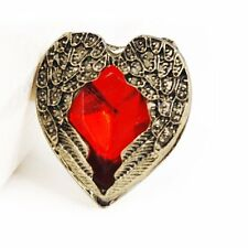 Vintage Angel Wing Angel Guardian Love Red Stone Adjustable Ring CT Q2I1 P6 M8F6