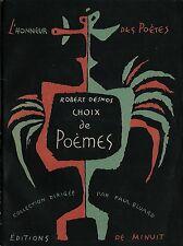 EO 1946 PAUL ÉLUARD + L'HONNEUR DES POÈTES N° 1 ROBERT DESNOS : CHOIX DE POÈMES