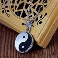 Yin Yang Taiji Bagua Pendant Necklace Men's Black Silver Stainless Steel Chain