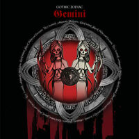 Gemini Gothic Zodiac Birthday Card for him/her or any occasion red & black