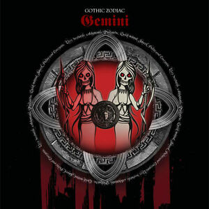 Gemini Gothic Zodiac Birthday Card for him/her May - June red & black