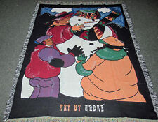 Art by Andre Montgomery African American ~ Building A Snowman Tapestry Throw