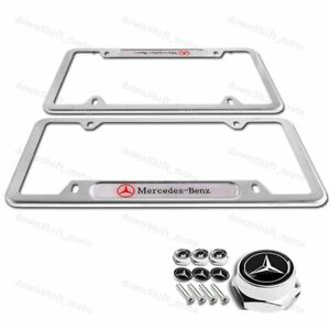2pcs MERCEDES-BENZ 2018 2019 Silver license plate frame Stainless W/ Screw Set
