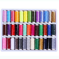 FT- 39Pcs Mixed Colors 100% Polyester Sewing Thread Machine Hand 200 Yard Intrig