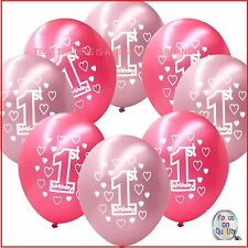 40 Pink Girl's 1st Birthday Printed Pearlised Balloons
