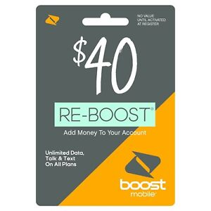 Boost Mobile - Re-Boost $40 Prepaid Phone Card Refilled directly to your mobile