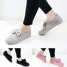 WOMEN LADIES SLIP ON FLATS SUEDE BOW LOAFERS TRAINERS PLIMSOLLS PUMPS SHOES SIZE