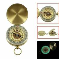Retro Pocket Brass Watch Style Luminous Compass Outdoor Camping Hiking Keychain