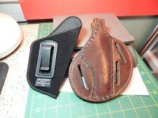 Brown unmarked 3-Slot Tooled Leather Pancake Gun Holster& Soft OTB Blackhawk #7