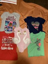 FOUR Short Sleeve Shirts and Swan Swimsuit ALL 5T