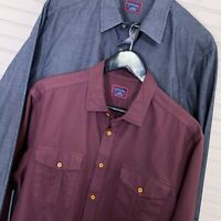 UNTUCKit L/S Button Shirt Lot of 2 100% Cotton Gray/Red Solid Men's L