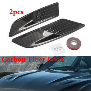 2pcs Carbon Fiber Look ABS Car Air Flow Intake Hood Vent Bonnet Decorative Cover