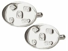Sterling Silver Oval Cufflinks without Stone for Men