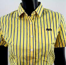 SUPERDRY ladies Size S Tokyo Shirt Mills Blouse Yellow Blue striped Y035