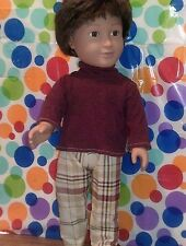 "18"" Doll Clothes-fit American Girl/Boy-Turtle Neck & Pants-Dk Red/Plaid"