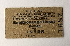 Old 1960s Irish CDRJC Railway Bus Exchange Train Ticket Donegal Iver Edmondson