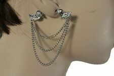 Women Earrings Set Fashion Jewelry Silver Metal Chain Heart Wing Double 2 Sides