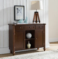 Walnut Wood Sideboard Buffet Console Display Table With Storage Drawers, Cabi...