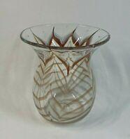 M Rhys Williams Handblown Feather Art Glass Vase Control Bubbles Signed LA 1980