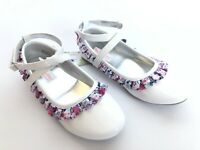 American Girl Wellie Wishers Shoes Sz 3 White Kendall Floral Ruffle Ballet Flats