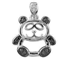 1x 925 Sterling Silver 18mm Cute Panda Bear Gem Set Pendant Necklace +Gift Bag