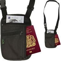 RFID Blocking Travel Body Wallet Passport Holder Neck Shoulder Document Bag Case