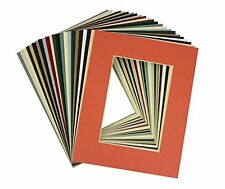 Set 25 8x10 MIXED COLORS Acid Free mats with White Core for 5X7 +Backing + Bags