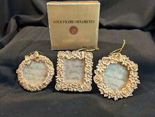 "NIB Set of 3 Gold Photo Frame Christmas Wreath Ornaments Raised Design 3"""