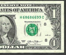 Fancy Serial Number 2013 $1 SUPER REPEATER H 68686699 TRINARY UPSIDE DOWN NOTE
