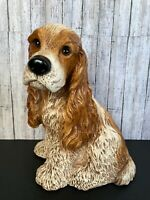 "Vtg Large 9.5"" x 11.5"" Resin Cocker Spaniel Dog Statue Figurine Lifelike Eyes!"