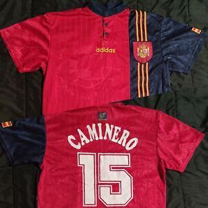 9.5/10 Spain 1994 1996 Adidas #15 Caminero Camiseta Jersey Shirt Vintage Euro 96