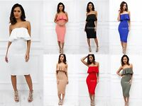 STOCK CLEARANCE UK NEW Strapless Frill Midi Length Party Bodycon Dress