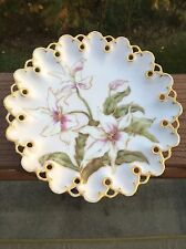 T&V Limoges Cabinet Plate Reticulated Rim Hand Painted Lilies Gold Trim