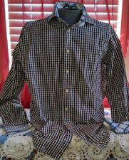 Thomas Dean Navy Brown Checks Men's l/s Contrast Collar Casual Button Shirt XL
