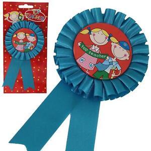 Rosette Badge Blue - Top Teacher - School Leaver - Thank You Gift