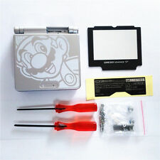 GBA SP Game Boy Advance SP Replacement Housing Shell Screen Lens Mario Silver
