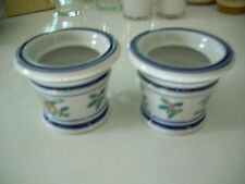 Vintage Holly Ceramic Candle Holders Christmas Bells White Blue 2.5 Inches Tall