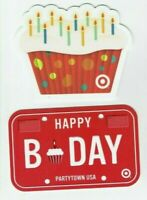 Target Gift Card LOT of 2 - Die-Cut Cupcake & B-Day License Plate - No Value