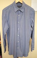 SPORTSCRAFT Blue White Check Long Sleeve Regular Fit Button Front Shirt ~ M