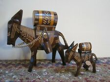 Vintage Pair Hand Carved WOODEN DONKEYS Barrels Buckets